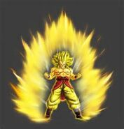 The promotional custom character as a Super Saiyan in Ultimate Tenkaichi