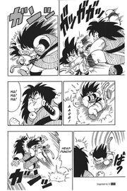 Yajirobe and Goku battle