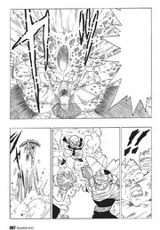 Cell uses the solar flare on the Z-Fighters and then escapes