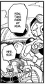 Mecha-Frieza orders Iru (stands next to Fisshi) to attack Future Trunks - Dragon Ball Manga chapter 331, DXRD