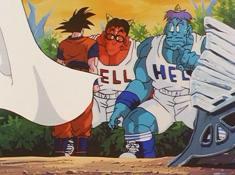 File:Goz and Mez talk to Goku.png