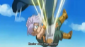Kado kicks trunks in the stomach