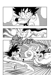 Giran uses his Merry Go Round Gum technique on Goku
