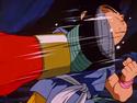 Gt kid goku gets kicked in the motuh
