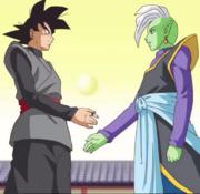 Goku black and zamasu become allies