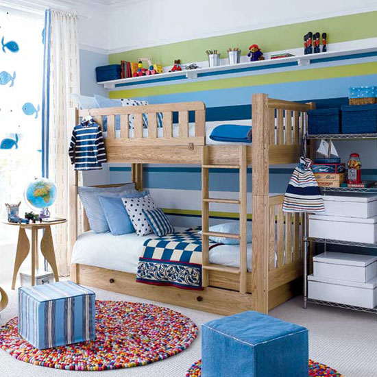 Unisex Kids Room Ideas: 10-blue-green-white-striped-wall-modern-kids-room