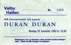 Valby-Hallen, Copenhagen, Denmark wikipedia look at ticket stubs duran duran 28 november 1988
