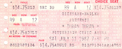 Duran duran ticket pittburgh civic arena 11 july 1987