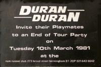 Rum runner birmingham flyer duran duran tour 1981 rare