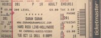 Hard rock live ticket duran duran 2011