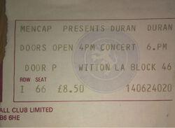 Aston villa duran duran park concert mencap ticket stub 1983