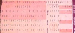 Ticket duran duran 18 june 1987