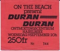 Concert ticket Harelbeke 1981