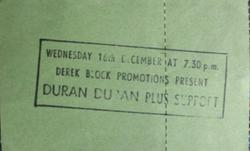 Hammersmith Odeon, London (UK) - 16 December 1981 wikipedia duran duran ticket stub
