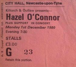Hazel o'connor wikipedia ticket stub duran duran Newcastle England City Hall stub tour megahype