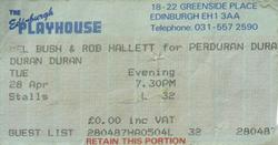 Ticket Duran Duran ticket stub x 2 from Edinburgh 28 & 29 April 1987 wikipedia