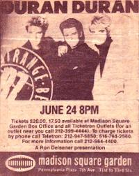 Duran duran madison square 1987