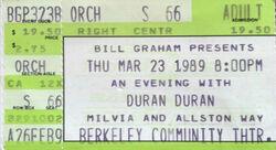 ANDY TAYLOR DURAN DURAN ticket Berkeley Community Theater, Berkeley CA (USA) wikipedia duran duran ticket stubs