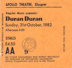 Apollo Theatre, Glasgow (UK) - 31 October 1982 wikipedia ticket stubs look at com duran duran