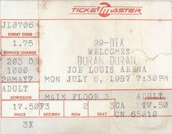Duran duran music com wikipedia Detroit MI USA Joe Louis Arena ticket stub