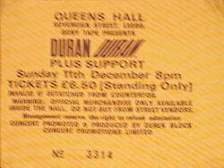 Queens Hall, Leeds, UK. wikipedia ticket stub duran duran concert 11 december 1983
