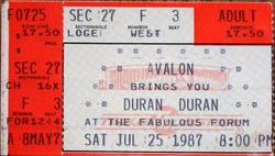 Ticket los angeles forum duran duran 25 july 1987