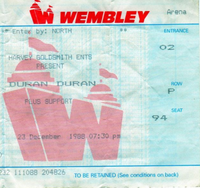 Duran Duran Concert Ticket Wembley Arena 23-12-1988 wikipedia