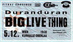 Kurhalle Oberlaa Vienna (Austria) 5 12 1988 duran duran ticket stub wikipedia duranduranarchive