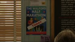 Marathon Poster in Cafe