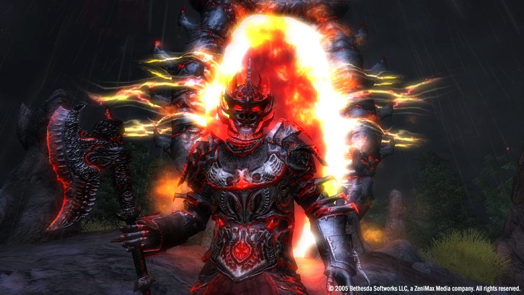 Un Daedra con un portón del Oblivion detrás.