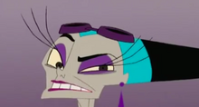 Yzma's eye gets hit by the swing of her pet crocodile.