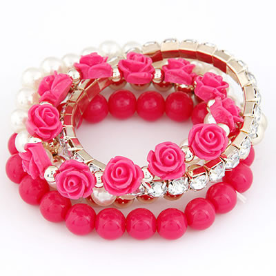 File:Bright Pink Stretch Flower and Beads Bracelet large.jpg