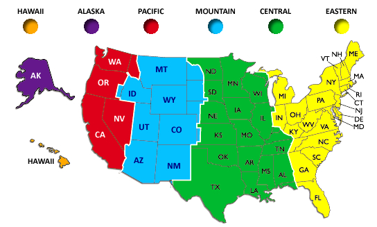 Map Of Us Time Zones With Cities Map Of Us Time Zones Map Of USA - Map us time zones states
