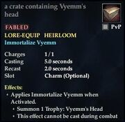 A crate containing Vyems head
