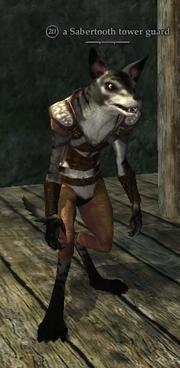 A Sabertooth tower guard