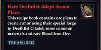 Rare Deathfist Adept Armor Plans