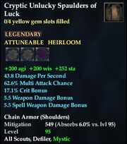 Cryptic Unlucky Spaulders of Luck