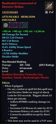 Runbladed Greatsword of Decisive Strikes