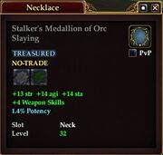 Stalker's Medallion of Orc Slaying