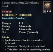 A crate containing Zarrakons head