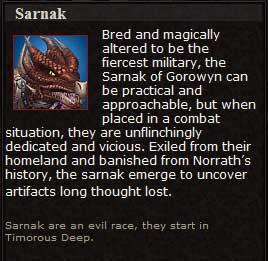 Sarnak (Character Race)