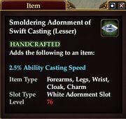 Smoldering Adornment of Swift Casting (Lesser)