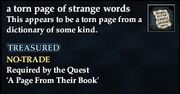 A torn page of strange words