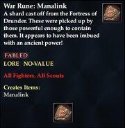 War Rune- Manalink