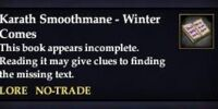 Karath Smoothmane - Winter Comes (Quest Starter)