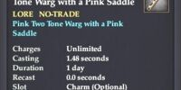 Dog Whistle of the Pink Two Tone Warg with a Pink Saddle
