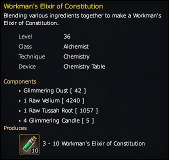Workman's Elixir of Constitution Recipe