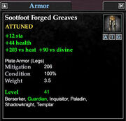 Sootfoot forged greaves