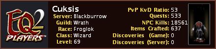 Cuksis (Blackburrow) EQ2Players