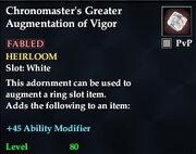 Chronomaster's Greater Augmentation of Vigor